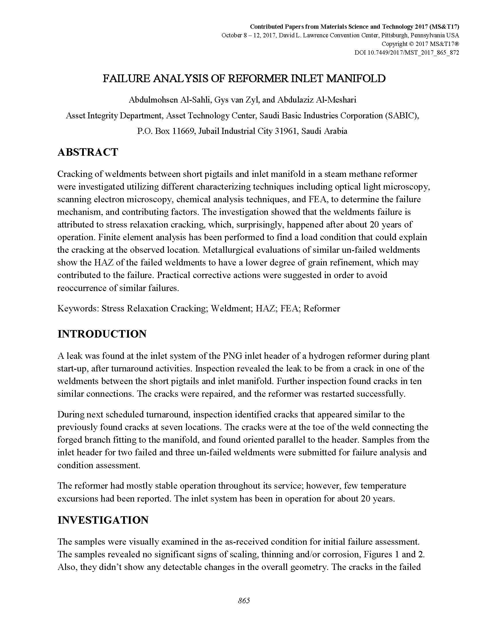 Failure Analysis of Reformer Inlet Manifold